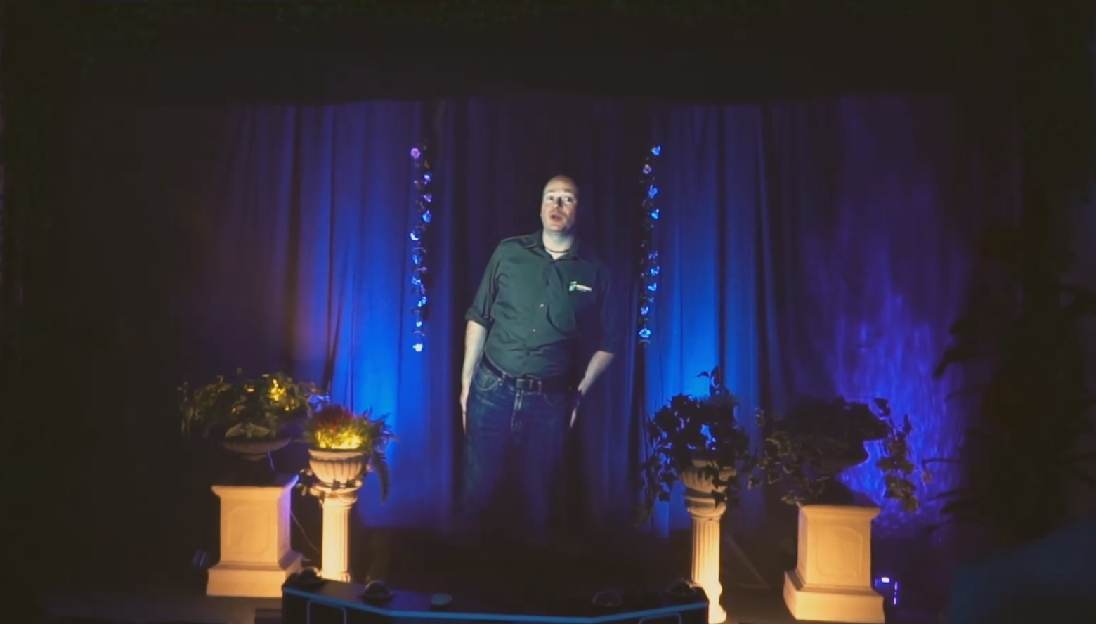Real people can be holographically recorded for playback for hologram stage or concert entertainment